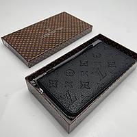Портмоне кошелек мужской Louis Vuitton черный, бумажник клатч на молнии из экокожи, стильный, премиум качества