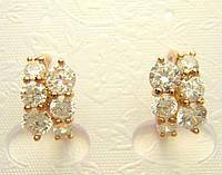 Позолоченные серьги с кристалами два ряда колечки G7  украшения бижутерия ювелирные изделия