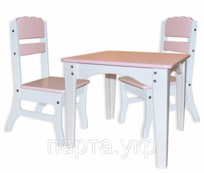 Столик детский  и 2 стульчика Цветные ( дерево)