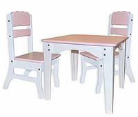 Столик детский  и 2 стульчика Цветные ( дерево), фото 1