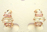 Позолоченные серьги с кристалами ступеньками колечки G8 украшения бижутерия ювелирные изделия