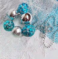 "Набор ""Новогодние украшения  АКВА"" (шарики, снежинки, фатин, гирлянда, волос ангела), фото 1"