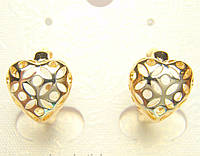 Позолоченные серьги с узорными сердечками колечки G9 украшения бижутерия ювелирные изделия