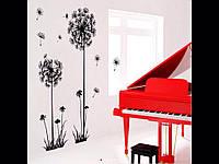 Наклейка виниловая на стену Черный цветок одуванчика 70*120см.