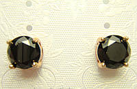 Позолоченные серьги с чёрным кристалом гвоздики G10 украшения бижутерия ювелирные изделия
