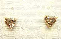 Позолоченные серьги с кристалом сердечко гвоздики G11 украшения бижутерия ювелирные изделия
