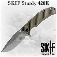 SKIF Sturdy 420E, складной нож с флиппером, клипсой, зеленый G-10, SW