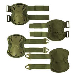 Комплект защиты AOKALI F001 Green тактический наколенники + налокотники штурмовые