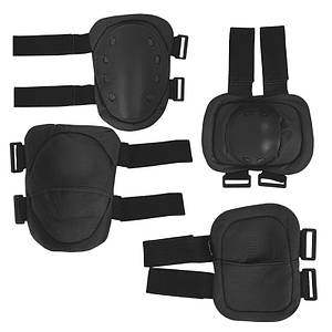 Комплект тактической защиты AOKALI F002 Black наколенники налокотники противоударные