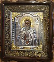 Икона Сергея Радонежского с серебрением и золочением