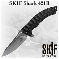SKIF Shark 421B, складной нож, флиппер, клипса, черная микарта на рукояти