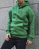 Худи мужской утепленный на флисе зелёный