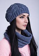 Комплект вязанная шапка и шарф-хомут в расцветках