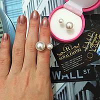 """Кольцо """"Жемчуг"""" реплика от Диор Dior в стиле шанель c золотистой основой."""