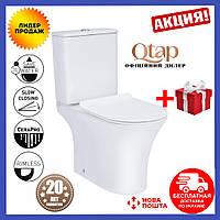 Унитаз напольный Rimless QTap унитаз-компакт пристенный унитаз керамический безободковый унитаз в ванную
