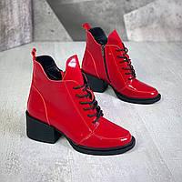 Жіночі зимові шкіряні лакові черевики на підборах 36-41 р червоний