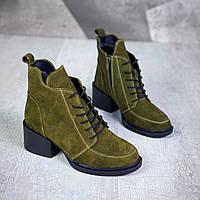 Жіночі зимові замшеві черевики на підборах 36-41 р хакі