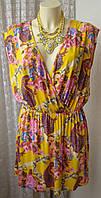 Платье женское легкое летнее вискоза стрейч мини бренд Next р.48 5287