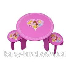 """Дитячий дерев'яний столик з двома стільчиками для дівчинки """"Принцеси Діснея"""" Bambi 5472"""