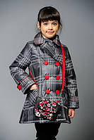 Демисезонные пальто с сумочкой для девочек. Плащевка-лаке