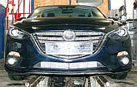 Декоративно-защитная сетка радиатора Mazda 3 SkyActiv фальшрадиаторная решетка, бампер
