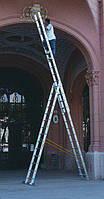 Аренда лестницы трехсекционной алюминиевой Alumet.  Днепропетровск