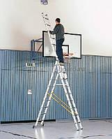 Аренда прокат лестниц трехсекционных (универсальных) 6 м - очевидная экономия и удобные условия оплаты.  Днепр
