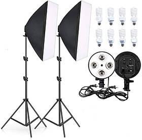 Набір постійного студійного світла софтбокси 50x70 на 4 патрона + Лампи 125W