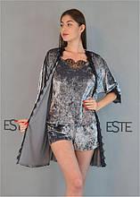 Комплект женской домашней одежды халат и пижама из велюра 304-301-1
