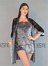 Комплект халат майка шорты мраморный велюр с гипюром