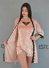Комплект домашней одежды халат и пижама мраморный велюр 304-301-1