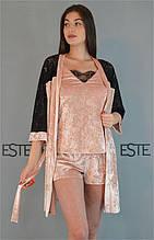 Велюровый комплект халат майка шорты с кружевом Este