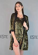Пижама с халатом велюровый комплект тройка 304-301-1