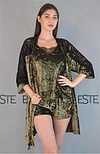 Велюровый комплект халат майка шорты с кружевом Este 313-301-1 хаки