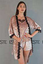 Комплект женский для сна и дома халат майка шорты 304-301-1