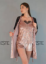 Велюровый комплект халат майка шорты с кружевом Este 313-301-1 пудровый