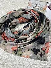 Зимний шерстяной платок двухсторонний 140х140 см без бахромы (цв.1)