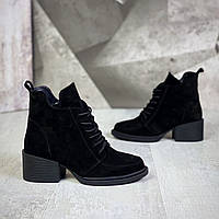 Жіночі зимові замшеві черевики на підборах 36-41 р чорний