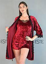 Комплект женский халат майка шорты велюровый Este 304-301-1
