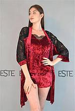 Велюровый комплект халат майка шорты с кружевом Este 313-301-1 бордовый