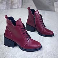 Жіночі зимові шкіряні черевики на підборах 36-41 р марсала