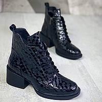 Жіночі зимові шкіряні черевики на підборах 36-41 р чорна крапля