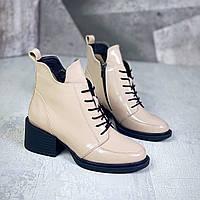 Жіночі зимові шкіряні лакові черевики на підборах 36-41 р бежевий