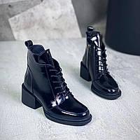 Жіночі зимові шкіряні лакові черевики на підборах 36-41 р чорний