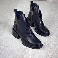 Жіночі зимові шкіряні черевики на підборах 36-41 р чорний