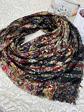 Зимний шерстяной платок клетка Burberry с цветами двухсторонний 140х140 см без бахромы (цв.2)