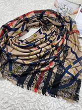 Зимний двухсторонний шерстяной платок без бахромы 140х140 см (цв.3)