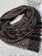 Зимний двухсторонний шерстяной платок Louis Vuitton и Burberry 140х140 см (цв.5)
