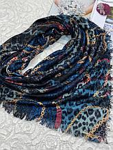 Зимний двухсторонний шерстяной платок абстракция с клеткой 140х140 см (цв.6)