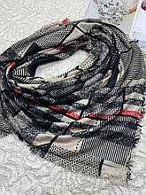 Зимний двухсторонний шерстяной платок в клетку без бахромы 140х140 см (цв.7)